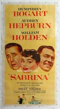 m040 SABRINA linen three-sheet movie poster '54 Hepburn, Bogart, Holden