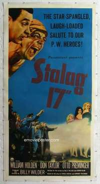 m041 STALAG 17 linen three-sheet movie poster '53 William Holden, Billy Wilder
