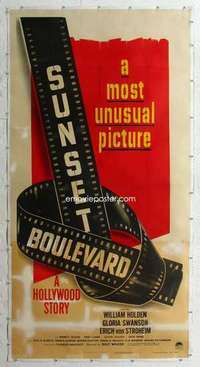 m043 SUNSET BLVD linen three-sheet movie poster '50 Billy Wilder classic!