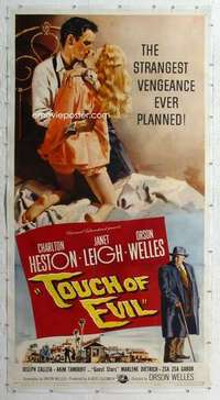 m060 TOUCH OF EVIL linen three-sheet movie poster '58 Welles, Heston, Leigh