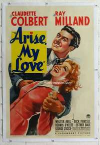 m050 ARISE MY LOVE linen one-sheet movie poster '40 Claudette Colbert, Wilder