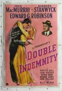 m044 DOUBLE INDEMNITY linen one-sheet movie poster '44 Billy Wilder noir!