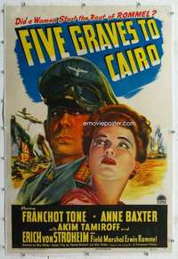 m048 FIVE GRAVES TO CAIRO linen one-sheet movie poster '43 Billy Wilder