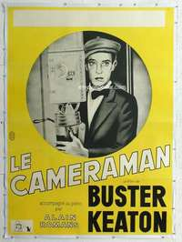 m067 CAMERAMAN linen French one-panel movie poster R60s Buster Keaton classic!