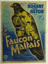m065 MALTESE FALCON linen French one-panel movie poster '41 Humphrey Bogart