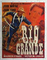 m068 RIO GRANDE linen French one-panel movie poster R60s John Wayne, Hawks