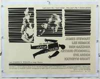 m076 ANATOMY OF A MURDER linen style B half-sheet movie poster '59 Bass art