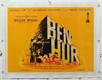 m077 BEN HUR linen style B half-sheet movie poster '60 Heston, Wyler