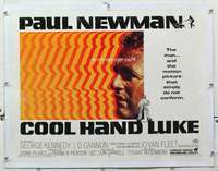 m078 COOL HAND LUKE linen half-sheet movie poster '67 Paul Newman classic!