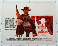 m080 FISTFUL OF DOLLARS linen half-sheet movie poster '67 Clint Eastwood