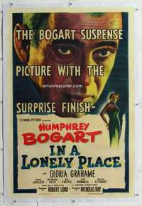 m450 IN A LONELY PLACE linen one-sheet movie poster '50 Humphrey Bogart