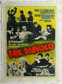 m070 DEVIL'S BROTHER linen Italian one-panel movie poster R48 Laurel & Hardy