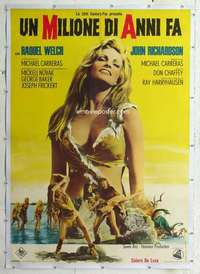 m069 ONE MILLION YEARS BC linen Italian one-panel movie poster R69 Raquel!