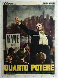 m064 CITIZEN KANE linen Italian two-panel movie poster R66 Orson Welles