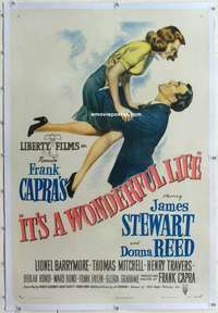 m001 IT'S A WONDERFUL LIFE linen one-sheet movie poster '46 all-time classic!