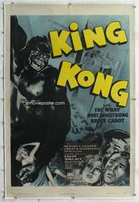 m029 KING KONG linen one-sheet movie poster R47 Fay Wray held by BIG ape!