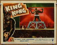 m030 KING KONG movie lobby card #3 R56 Kong in chains on stage!