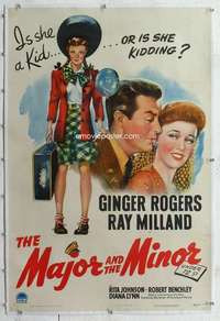 m049 MAJOR & THE MINOR linen one-sheet movie poster '42 Rogers, Milland