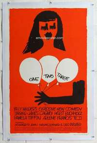 m046 ONE TWO THREE linen one-sheet movie poster '62 Wilder, Saul Bass art!