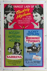 m051 SABRINA /BREAKFAST AT TIFFANY'S linen one-sheet movie poster '65 Audrey
