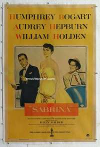 m045 SABRINA linen one-sheet movie poster '54 Hepburn, Bogart, Holden