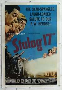 m047 STALAG 17 linen one-sheet movie poster '53 William Holden, Wilder