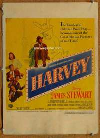 m019 HARVEY window card movie poster '50 James Stewart, six foot rabbit!