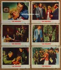 p611 36 HOURS 6 movie lobby cards '65 James Garner, Rod Taylor