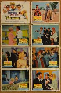 p083 3 ON A COUCH 8 movie lobby cards '66 Jerry Lewis, Janet Leigh