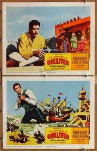 p956 3 WORLDS OF GULLIVER 2 movie lobby cards '60 Ray Harryhausen