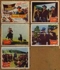 p720 7th CAVALRY 5 movie lobby cards '56 Randolph Scott, Barbara Hale