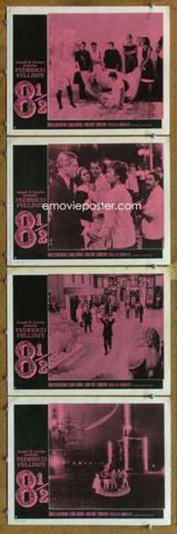 p817 8 1/2 4 movie lobby cards '63 Federico Fellini, Mastroianni