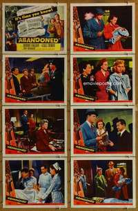 p087 ABANDONED 8 movie lobby cards '49 Dennis O'Keefe, Gale Storm