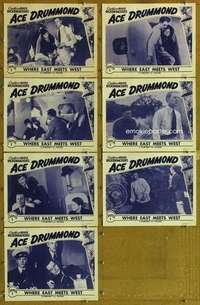 p484 ACE DRUMMOND 7 Chap 1 movie lobby cards R40s Dusty King, serial!