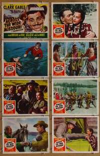 p088 ACROSS THE WIDE MISSOURI 8 movie lobby cards '51 Clark Gable