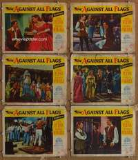 p613 AGAINST ALL FLAGS 6 movie lobby cards '52 Errol Flynn, O'Hara