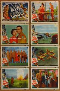 p090 AIR CADET 8 movie lobby cards '51 Air Force, Gail Russell, Jets!