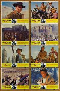 p093 ALAMO 8 movie lobby cards R67 John Wayne, Richard Widmark