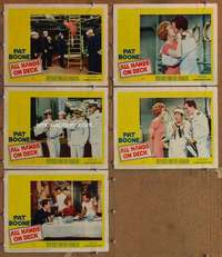 p725 ALL HANDS ON DECK 5 movie lobby cards '61 Pat Boone, Buddy Hackett