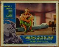 p044 AMAZING COLOSSAL MAN movie lobby card #3 '57 room too small!