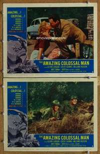 p958 AMAZING COLOSSAL MAN 2 movie lobby cards '57 Bert I. Gordon