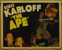 p009 APE movie title lobby card '40 Boris Karloff, Curt Siodmak horror!