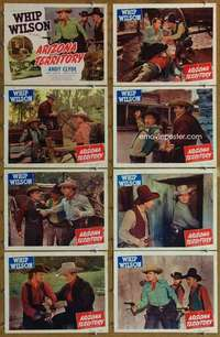 p108 ARIZONA TERRITORY 8 movie lobby cards '50 Whip Wilson, Andy Clyde
