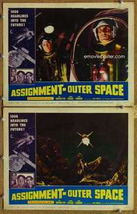 p961 ASSIGNMENT-OUTER SPACE 2 movie lobby cards '62 Italian sci-fi!