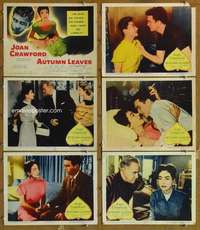 p615 AUTUMN LEAVES 6 movie lobby cards '56 Joan Crawford, Robertson