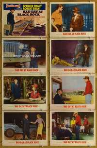 p114 BAD DAY AT BLACK ROCK 8 movie lobby cards '55 Spencer Tracy, Ryan