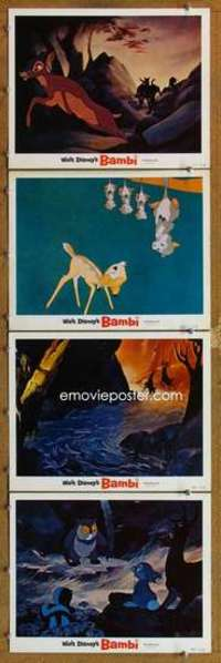 p818 BAMBI 4 movie lobby cards R66 Walt Disney cartoon classic!