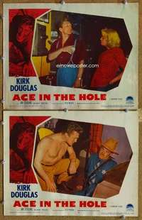 p964 BIG CARNIVAL 2 movie lobby cards '51 Billy Wilder, Ace in the Hole!