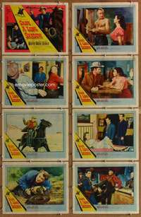 p142 CAST A LONG SHADOW 8 movie lobby cards '59 Audie Murphy, Moore