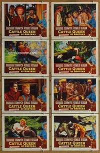 p144 CATTLE QUEEN OF MONTANA 8 movie lobby cards '54 Stanwyck, Reagan